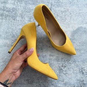 Mix No 6 Yellow Faux Suede Pointy Stilettos 9